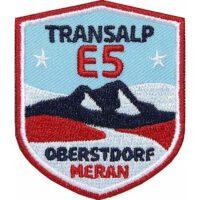 E5 Fernwanderweg Alpencross von Oberstdorf nach Meran Bozen Südtirol, Aufnäher, Patch, Patches, Flicken, Bügelbild