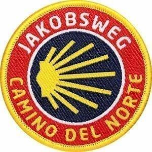 Jakobsweg–camino-del-norte-santiago-pilgerweg-pilgern-pilger-coh-club-of-heroes-patch-abzeichen-aufnaeher-aufkleber-sticker-emblem-button-gewebt-gewoben
