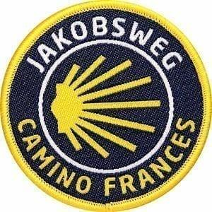 Jakobsweg–camino-frances-frankreich-pilgerweg-pilgern-pilger-coh-club-of-heroes-patch-abzeichen-aufnaeher-aufkleber-sticker-emblem-button-gewebt-gewoben