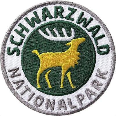 Schwarzwald Nationalpark Patch im Format 60 mm. Applikation mit Hirsch Motiv