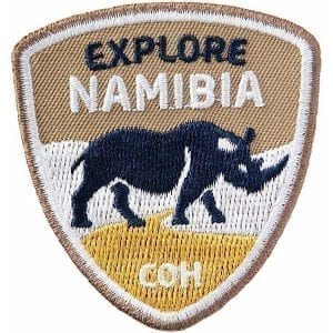 namibia-afrika-nashorn-safari-reise-entdecken-explore-coh-club-of-heroes-patch-abzeichen-aufnaeher-aufkleber-sticker-emblem-button-gestickt-stickerei