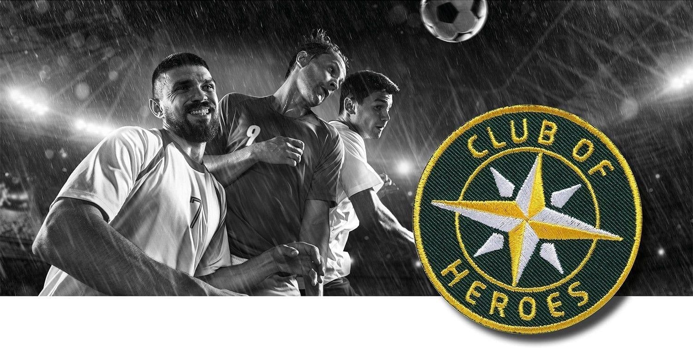 Fussball Champions / gestickte Aufnäher Patches und Bügelflicken zum Aufnähen oder Aufbügeln von Club-of-Heroes