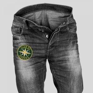 Applikation auf Jeans-Hose / gestickte Aufnäher Patches und Bügelflicken zum Aufnähen oder Aufbügeln von Club-of-Heroes