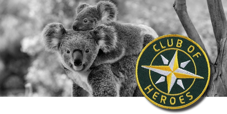 Australien Koala / Textil Aufnäher Patches und Bügelflicken zum Aufnähen oder Aufbügeln von Club of Heroes