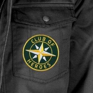 Applikation auf Jacke / gestickte Aufnäher Patches und Bügelflicken zum Aufnähen oder Aufbügeln von Club-of-Heroes