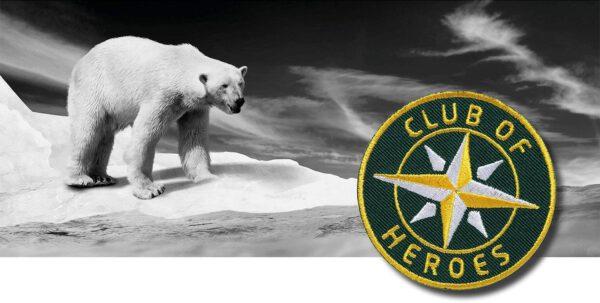 Eisbär Klima Klimawandel Arktis Artenschutz / gestickte Aufnäher Patches und Bügelflicken zum Aufnähen oder Aufbügeln von Club-of-Heroes
