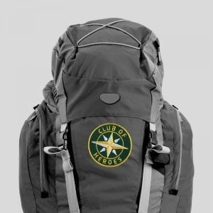 Applikation auf Trekking Rucksack / gestickte Aufnäher Patches und Bügelflicken zum Aufnähen oder Aufbügeln von Club-of-Heroes