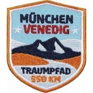 Traumpfad München-Venedig Alpencross, Transalp, Fernwanderweg, Trekking, Aufnäher, Patch, Patches, Flicken, Bügelbild