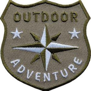 Outdoor Patch Bügelbild Aufnäher mit Kompass Braun