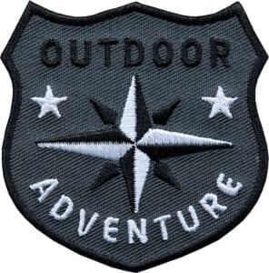 Outdoor Patch Bügelbild Aufnäher mit Kompass Schwarz