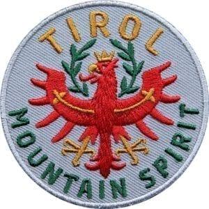 Tirol Adler Patch 65 mm, hochwertig gesticktes Abzeichen für Outdoor, Trekking, Reise, Mode, Sport. Patch zum Aufbügeln oder Aufnähen auf Kleidung, Taschen, Caps und Rucksack. Grau