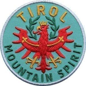 Tirol Adler Patch 65 mm, hochwertig gesticktes Abzeichen für Outdoor, Trekking, Reise, Mode, Sport. Patch zum Aufbügeln oder Aufnähen auf Kleidung, Taschen, Caps und Rucksack. Olive