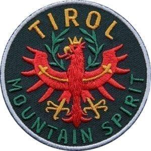 Tirol Adler Patch 65 mm, hochwertig gesticktes Abzeichen für Outdoor, Trekking, Reise, Mode, Sport. Patch zum Aufbügeln oder Aufnähen auf Kleidung, Taschen, Caps und Rucksack. Schwarz