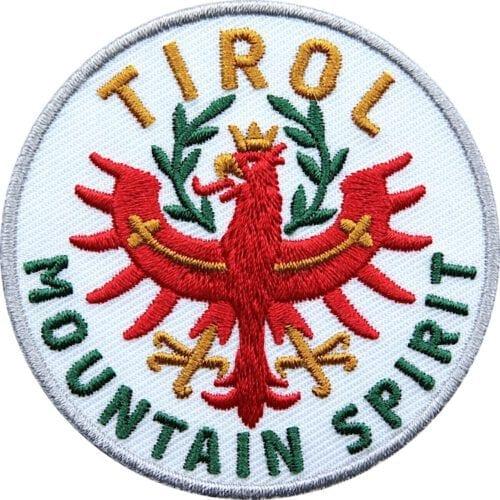 Tirol Adler Patch 65 mm, hochwertig gesticktes Abzeichen für Outdoor, Trekking, Reise, Mode, Sport. Patch zum Aufbügeln oder Aufnähen auf Kleidung, Taschen, Caps und Rucksack. Weiss