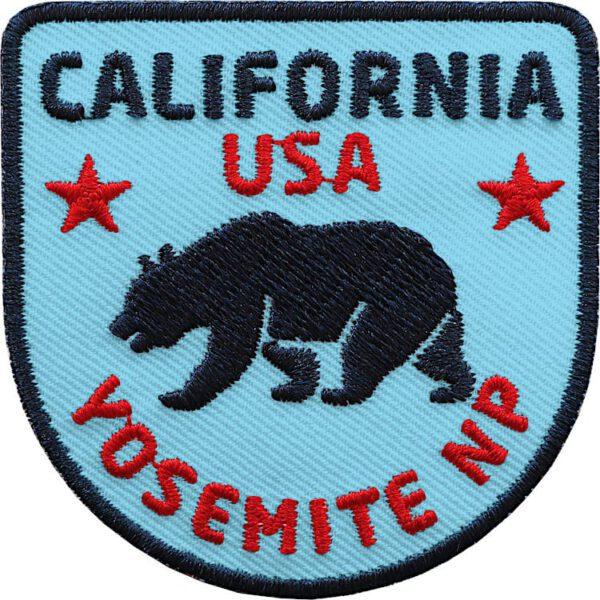 California Patch mit Bär-Motiv (Blau). Aufnäher für Deine USA Reise durch Kalifornien und Yosemite Nationalpark.