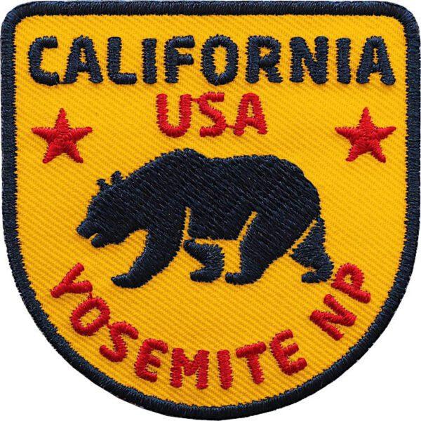 California Patch mit Bär-Motiv (Gelb). Aufnäher für Deine USA Reise durch Kalifornien und Yosemite Nationalpark.